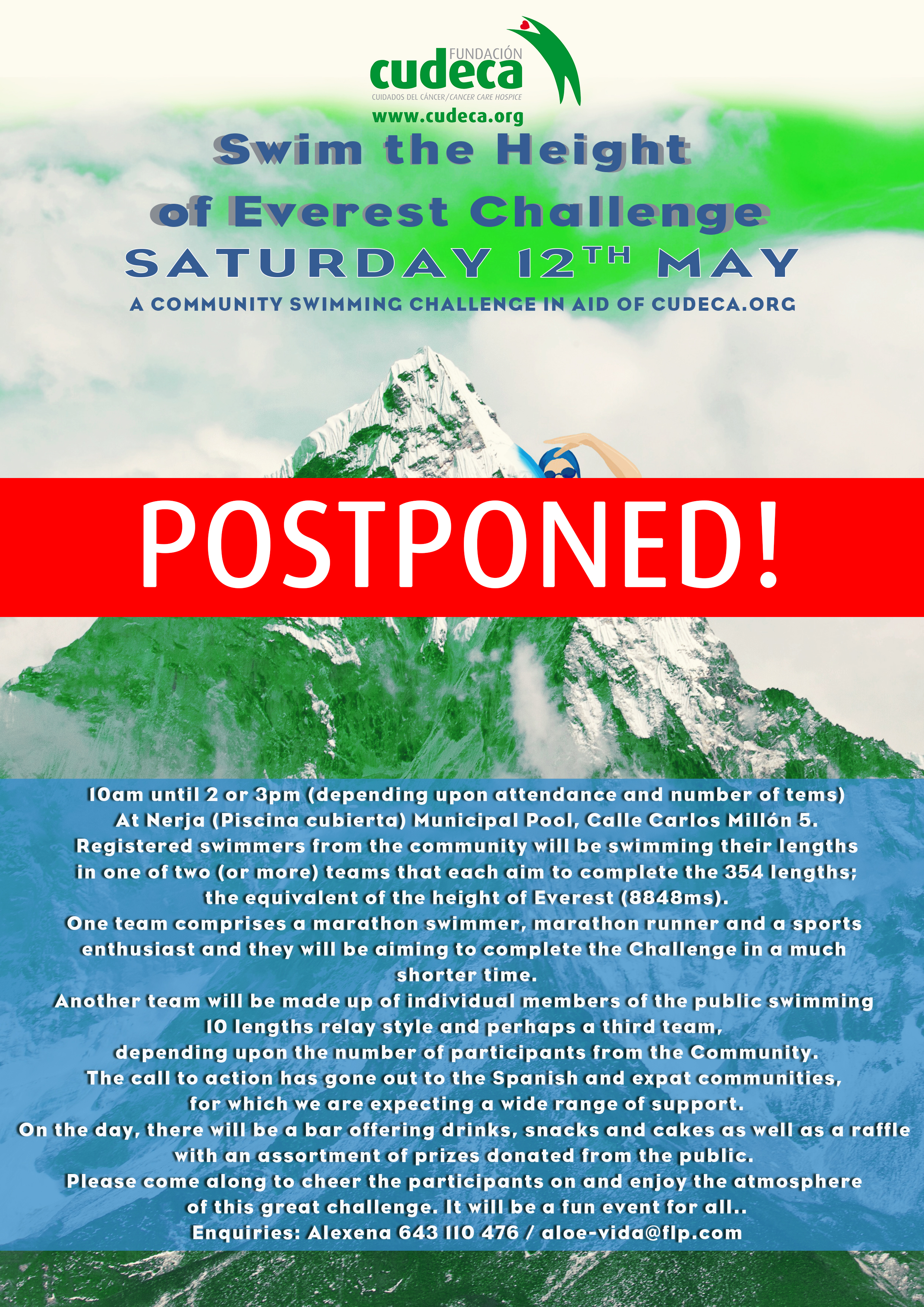 "POSTPONEMENT TILL SEPTEMBER  ""Swim the Height of the Everest"" in Nerja"