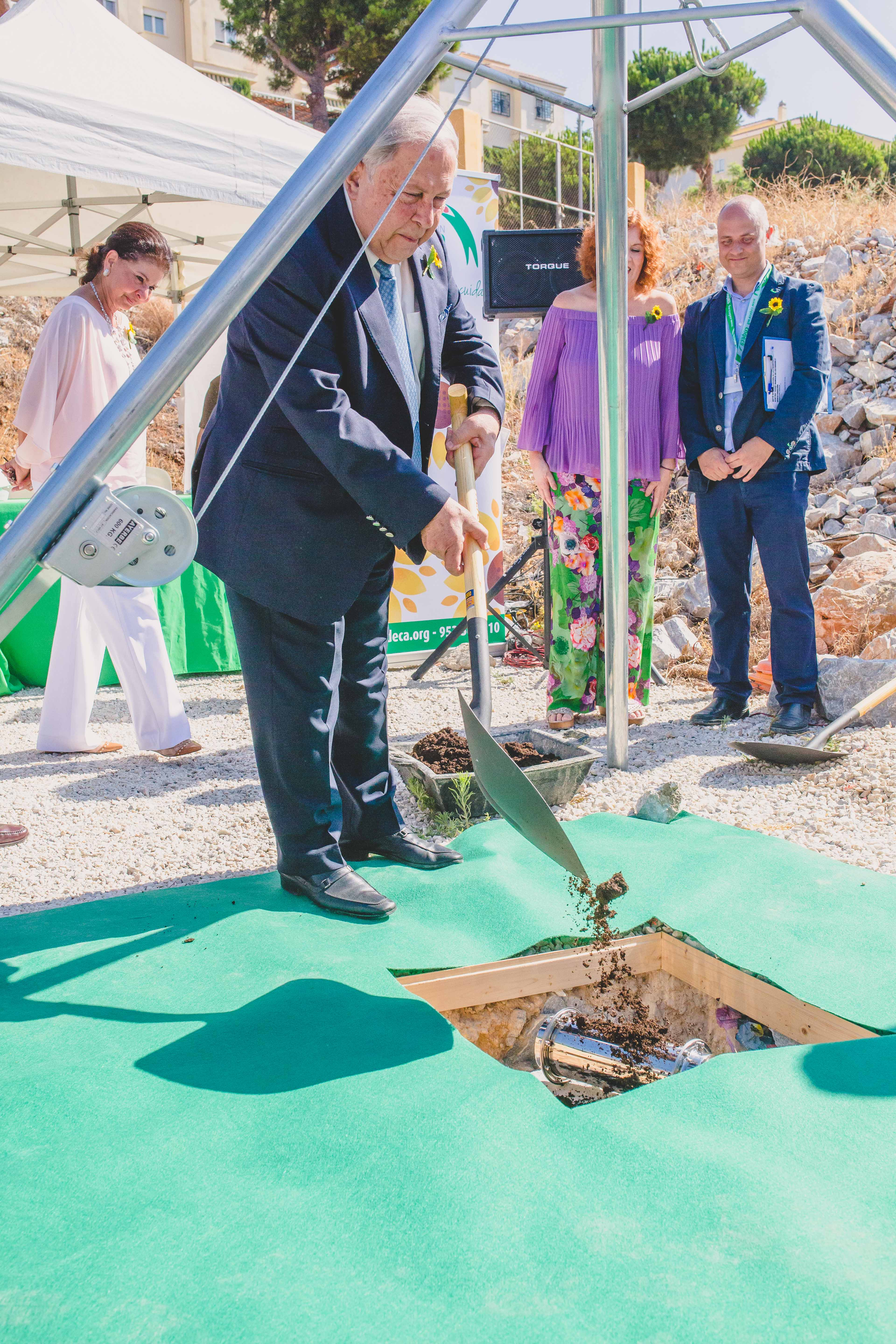 """First Stone Ceremony """"Yusuf Hamied Training & Research Centre""""  Cudeca Hospice Foundation."""