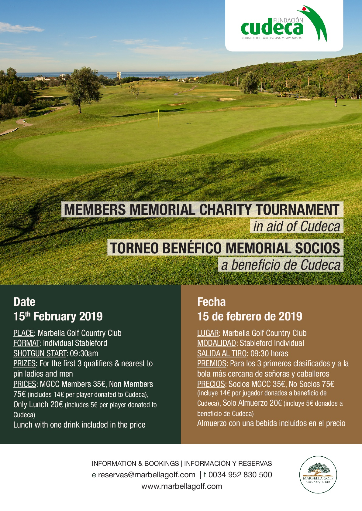 Memorial Members Charity Tournament at Marbella Golf & Country Club for CUDECA!