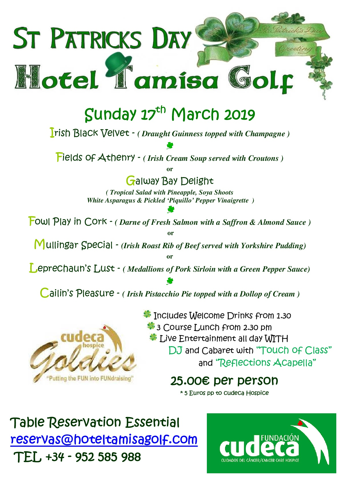 Calling the Irish one more year for the St. Patrick´s Day  at Tamisa Golf with The Cudeca Goldies!
