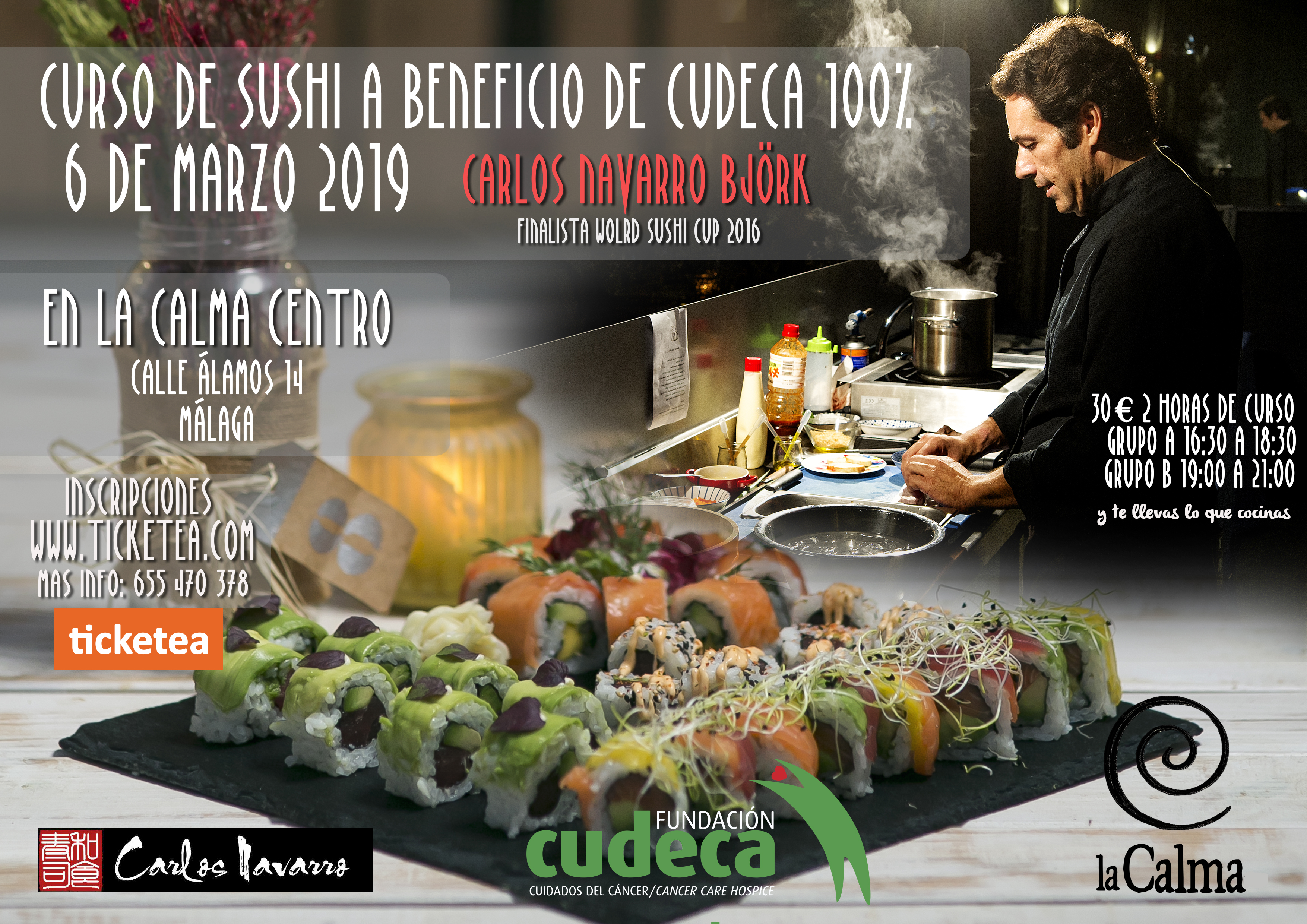 II Curso de sushi Carlos Navarro a beneficio de CUDECA en la Calma centro