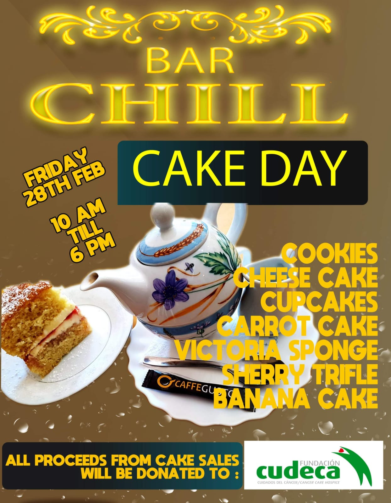 Coffee & Bake Morning at Chill Bar to help us!