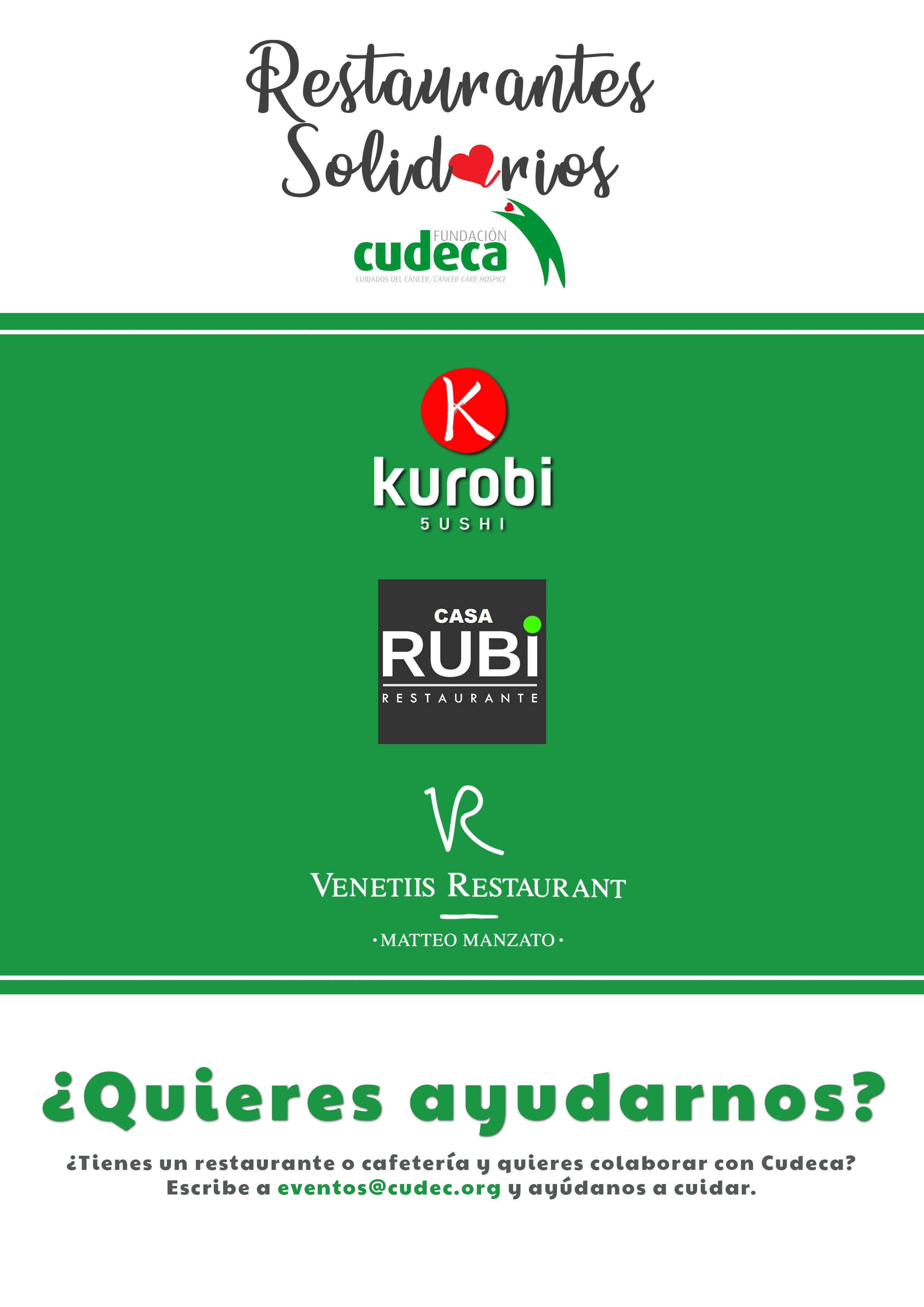 Restaurantes solidarios con Cudeca