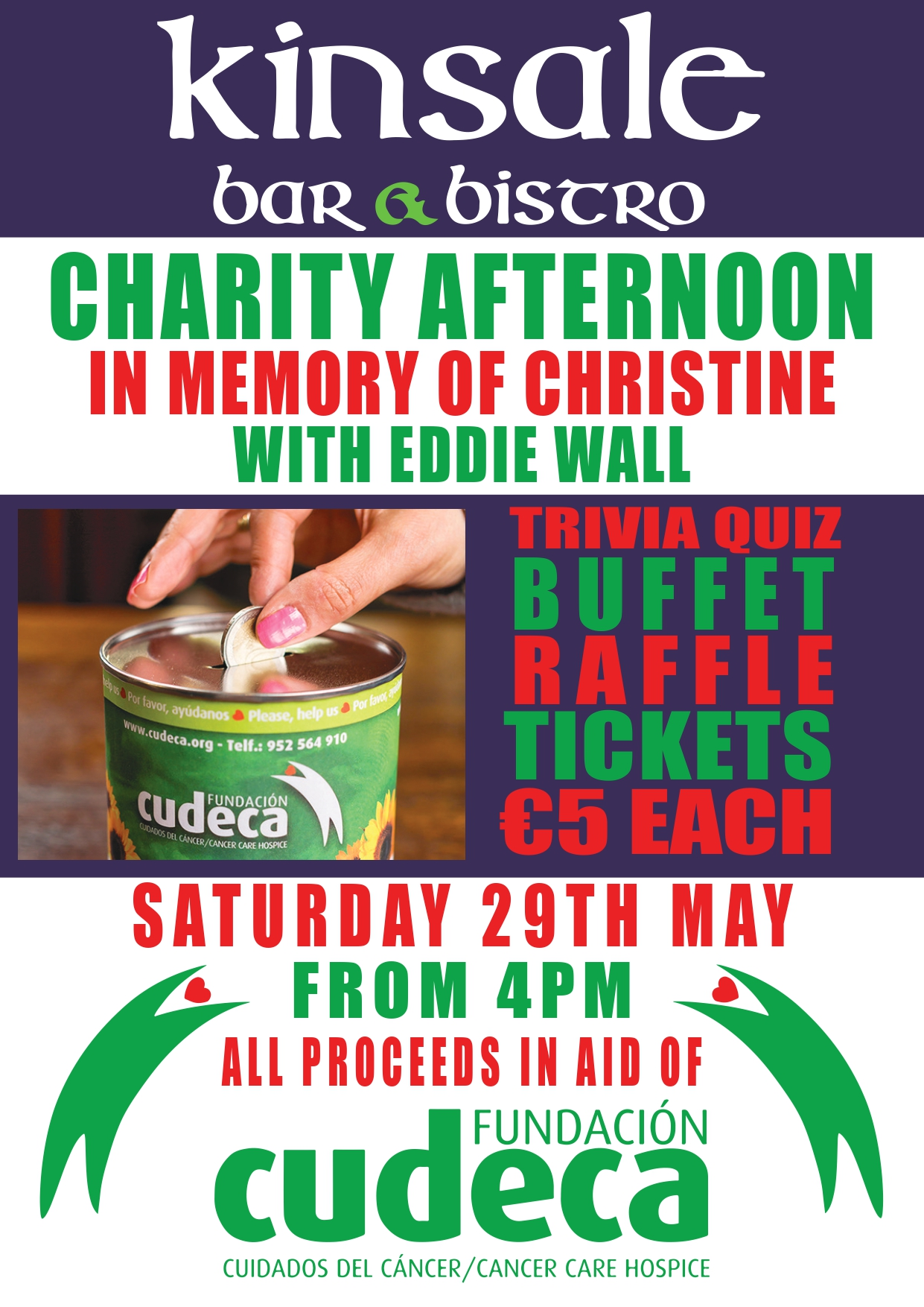 Charity afternoon in memory of Christine with Eddie Wall at Kinsale Bar